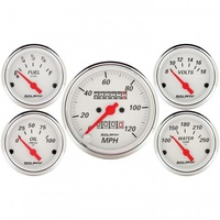 "AUTOMETER 5 PC GAUGE KIT,3-1/8"" & 2-1/16"",MECHANICAL SPEEDOMETER,ARCTIC WHITE # 1300"