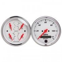"AUTOMETER 2 PC GAUGE KIT,3-3/8"" QUAD & SPEEDO,ELECTRIC,240-33 ?,ARCTIC WHITE # 1308"
