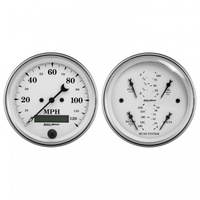 "AUTOMETER 2 PC GAUGE KIT,3-3/8"" QUAD & SPEEDO,ELECTRIC,240-33 ?,OLD TYME WHITE # 1600"