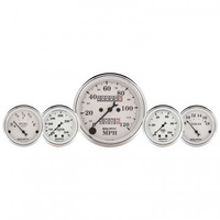 "5 PC GAUGE KIT,3-1/8""& 2-1/16"",MECHANICAL SPEEDOMETER,WTMP& OILP,OLD TYME WHT # 1611"
