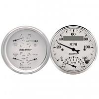 "2 PC GAUGE KIT,3-3/8"" QUAD& TACH/SPEEDO,ELECTRIC,240-33 ?,OLD TYME WHITE # 1620"