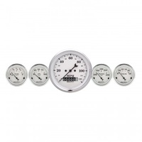 "AUTOMETER 5 PC GAUGE KIT,3-3/8"" & 2-1/16"",ELECTRIC SPEEDOMETER,OLD TYME WHITE # 1640"