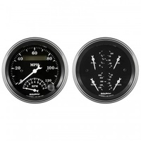 "2 PC GAUGE KIT,3-3/8"" QUAD& TACH/SPEEDO,ELECTRIC,240-33 ?,OLD TYME BLACK # 1720"