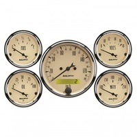 "AUTOMETER 5 PC GAUGE KIT,3-1/8""& 2-1/16"",ELECTRIC SPEEDOMETER,KM/H,ANTIQUE BEIGE # 1809-M"